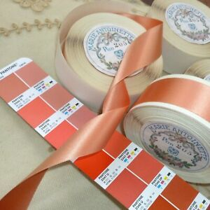 By The Roll Vintage Double Faced Satin Ribbon Coral