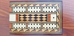 Vintage 19th Century Wooden Cribbage Game Box With Ivory Inlay Very Ornate Rare