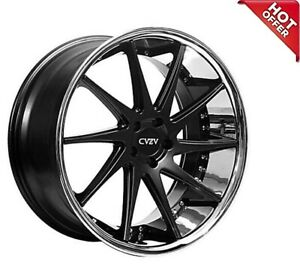 Qty4 20 Staggered Azad Wheels Az23 Semi Matte Black With Chrome Lip Hotdeal