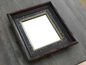 Antique Deep Carved Walnut Ebony Picture Frame Mirror 13 5 X 16 Eastlake