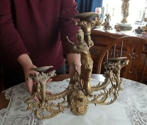 Antique Winged Mytological Angel Mermaid Triple Candle Sconce Unbelievable