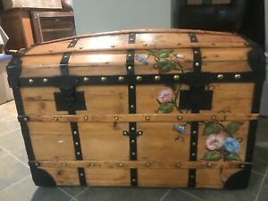 Antique Dome Top Trunk Professionally Restored And Hand Painted Artist Design