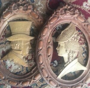 Antique Pair Hand Carved Wood Portrait Plaques French Victorian Man Woman