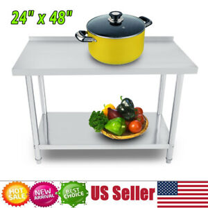 Stainless Steel Work Table Commercial Food Prep Kitchen Restaurant 24 x 48 x 34