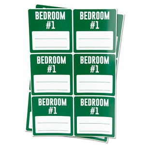 Bedroom 1 Blank Labels Memo Note Home Garage Moving Box Stickers 3 x3 2pk