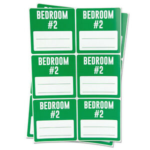 Bedroom 2 Blank Labels Garage Moving Box Memo Note Home Stickers 3 x3 2pk