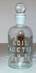 Apothecary Pharmacy Acetic Acid Vintage Bottle With Glass Stopper