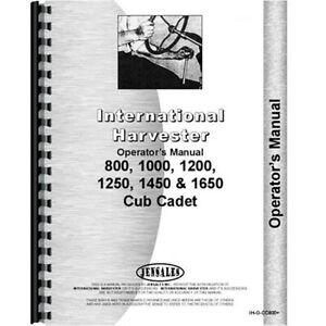 New Tractor Operator Manual For International Harvester Cub Cadet 1650 Tractor