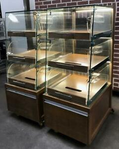 Pair Of 3 Drawer Glass Pull Out Self Serve Lighted Bakery Pastry Display Cases