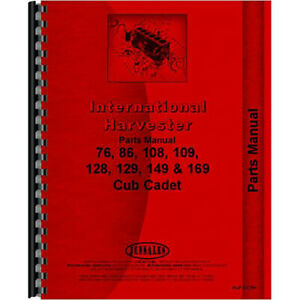 Tractor Parts Manual For International Harvester Cub Cadet 169 Tractor