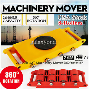 12t 26400lb 360 Machinery Skate Mover 360 rotation Durable Rotating 8 Rollers