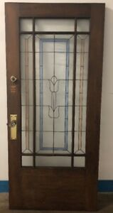 Vintage Solid Wood Front Door With Multi Color Stain Glass Panels