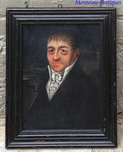 Early Pastel Portrait Painting Gentleman Early 19th Century