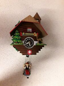 Vintage Small Wooden Cuckoo Wall Clock Made In Germany
