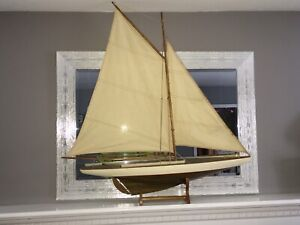 Antique Vintage Toy Model Wooden Pond Yacht Sail Boat Sailboat Ship Large Size