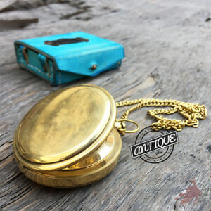 Golden Finish Push Button Chain Leather Case With Compass Hiking Camping Sports