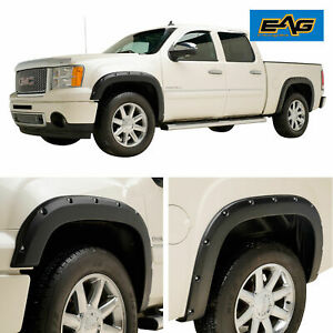 For 07 13 Gmc Sierra 1500 Textured Offroad Pocket Rivet 4pc Fender Flares