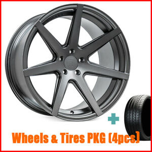 Qty4 19 Staggered Rohana Rc7 Matte Graphite Wheels And Tires