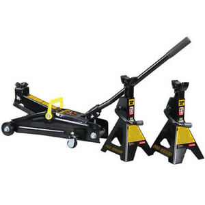Torin Trolley Vehicle Car Lift Tool Heavy Duty Steel Jack And Jack Stands Bundle
