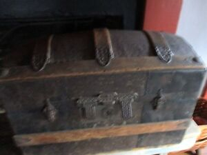 Dome Top Steamer Trunk Wood Embossed Metal Ornate Hardware Casters 1865 1885