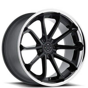 Qty4 20 Wheels And Tires Blaque Diamond Bd 23 Gloss Black With Chrome Ss Lip