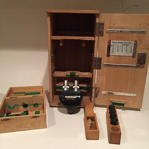 Vintage Heidelberg Research Model Microscope W case Fast Shipping Rare Wow