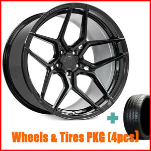 Qty4 19 Staggered Rohana Rfx11 Gloss Black Wheels And Tires