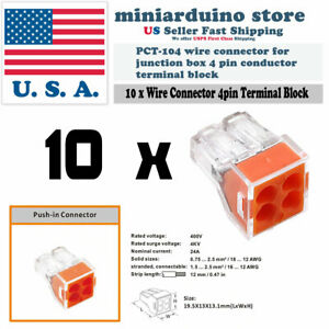 10pcs Wire Connector For Junction Box 4 Pin Pct 104 Conductor Terminal Block Rs