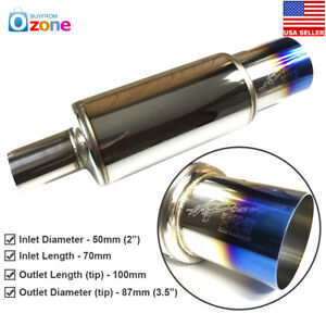 3 5 Hks 2 Inlet Polished Blued Tip Inspired Cannon Stainless Steel Muffler