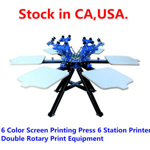 6 Color Screen Printing Press 6 Station Printer Double Rotary Print Equipment