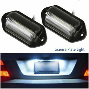 2 Pack Universal 6 Led License Plate Tag Lights Lamps For Truck Suv Trailer