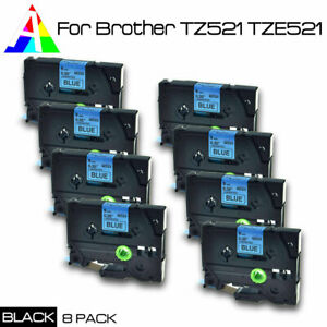 8pk Tz 521 Tze 521 Black On Blue Label Tape For Brother P touch Pt d450 9mm 3 8