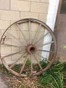 Original 1800s Wooden Wagon Wheel 52 Diameter Antique
