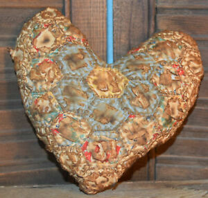 Primitive Small Quilt Heart Valentine Bowl Filler Cupboard Tuck Blue