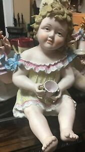 Antique 12 Piano Baby W Cup In Hand Germany