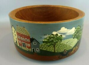 Large Hand Painted Amish Scene Wooden Bowl Super Nice Signed Ram 93