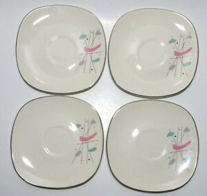 Vintage Mid Century Modern Atomic Black Pink Knowles 4 Saucers For Coffee Cups