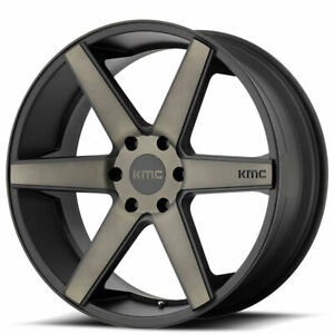 4 set 20 Kmc Km704 District Truck Matte Black With Dark Tint Wheels And Tires
