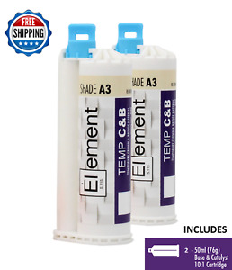 2 Element Temporary Crown And Bridge Material Cartridges Dental Shade A3