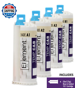 4 Element Temporary Crown And Bridge Material Cartridge Dental All Shades