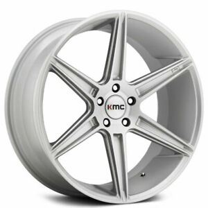 4 set 20 Staggered Kmc Km711 Prism Brushed Silver Wheels And Tires