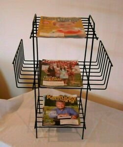 Vtg Black Wire Iron Magazine Newspaper Rack Record Holder Stand Atomic Large 27