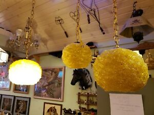 Vintage Mid Century 3 Piece Small Hanging Spaghetti Lamps Set