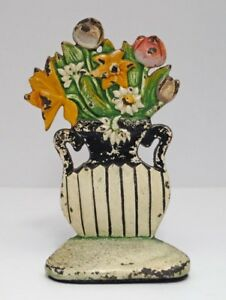 Antique Daisy Mixed Flowers In Urn Cast Iron Doorstop Circa 1920 S 30 S