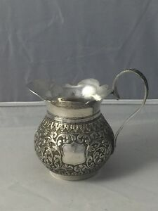 Vintage Anglo Indian Solid Silver Cream Pitcher India