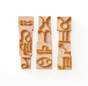 Letterpress Zodiac Symbols Wood Type 8 Line 33 8mm 12 Pieces