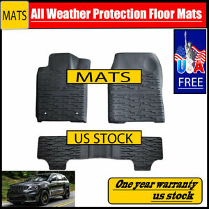 Rugged Cover Floor Mats Front New Black For Jeep Grand Cherokee 2014 2017
