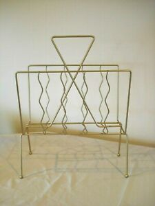 Vtg Gold Tone Brass Like Wire Magazine Newspaper Rack Record Holder Atomic