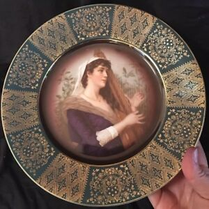 Vintage Royal Munich Beehive Gold Filigree Portrait Plate Lady Playing The Harp