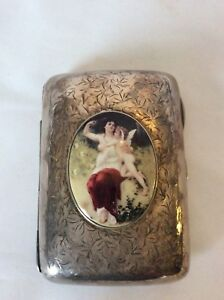 Antique British Sterling Silver And Enamel Pictoral Cigarette Case